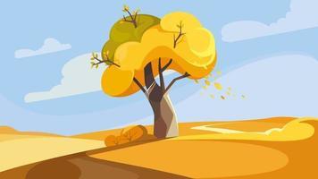árvore na colina na temporada de outono. vetor