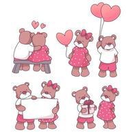 coleção de elementos de amor grandes isolados desenhados à mão definida no conceito de dia dos namorados, urso apaixonado, ilustração vetorial plana para cartões de convite do dia dos namorados e decoração de página vetor