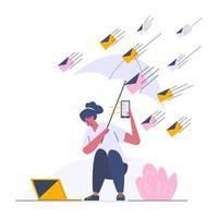 envio de e-mail por meio de modelo da web on-line, modelo da web de tela de estilo de desenho animado para celular, página de destino, modelo, interface do usuário, web, aplicativo móvel, cartaz, banner, ilustração vetorial plana vetor