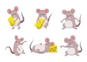 pacote de ilustração de vetor plana de personagens de desenhos animados fofos isolados de rato e queijo