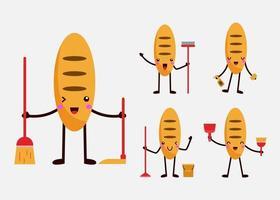 conjunto de governanta pão mascote personagem de desenho animado plana vetor