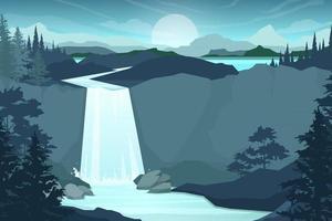 ilustração vetorial estilo de desenho animado de cachoeira em fundo de paisagem de floresta vetor