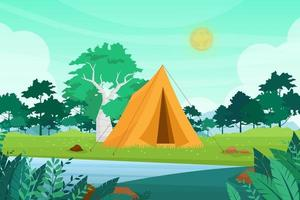 ilustração vetorial de acampamento de verão com barracas de camping aventura na natureza ao ar livre vetor