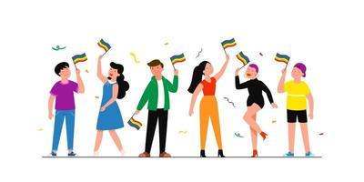 comunidade lgbtq. feliz abraçando jovens segurando uma bandeira de arco-íris lgbt. grupo de ativistas gays, lésbicas, bissexuais e transgêneros. ilustração em vetor plana editável, clip-art
