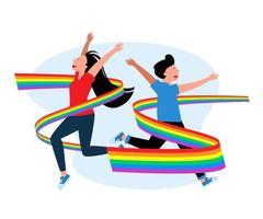LGBT gays e lésbicas com bandeiras do arco-íris. ilustração de amor de orgulho, vetor de demonstração de liberdade lgbtq homossexual e transgênero