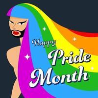 lgbt pessoa com cabelo arco-íris e barba. orgulho gay. conceito lgbtq. isolado na ilustração colorida do vetor escuro. adesivo.