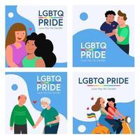 quatro conjuntos de casal gay e lésbica lgbt em uma scooter e muito mais. ilustração vetorial em estilo simples. vetor