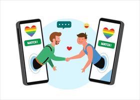 LGBT gays apertando as mãos em celulares com bandeiras do arco-íris. ilustração de amor de orgulho, vetor de demonstração de liberdade lgbtq homossexual e transgênero