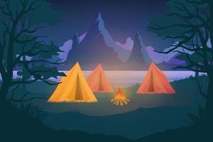 ilustração vetorial acampamento noturno com barracas de acampamento vetor