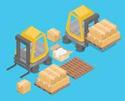 empilhadeira isométrica para levantar e transportar mercadorias., prateleiras de armazenamento., paletes com mercadorias para infográficos, ilustração 3D, renderização em 3D vetor
