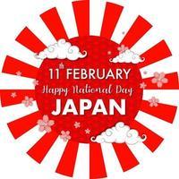 fonte feliz dia nacional do japão no banner de raios de sol vetor