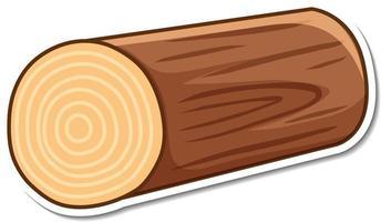 adesivo log de madeira em fundo branco vetor