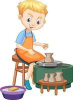menino personagem de desenho animado fazendo argila de oleiro em fundo branco vetor