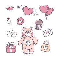 design plano com feliz dia dos namorados com ícones vetor