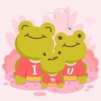 conjunto de ilustração vetorial bonito dos desenhos animados, para a celebração do dia dos namorados, expressão animal do amor vetor