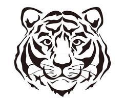 ilustração em vetor cabeça tigre silhueta isolada em um fundo branco.