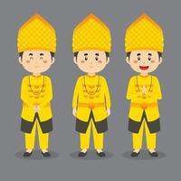 personagem de sulawesi central com várias expressões vetor