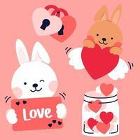 fundo de ilustração à mão livre dos namorados do vetor. capa, banner com citação felicidade é um jat de rabiscos de mão desenhada de amor. vetor