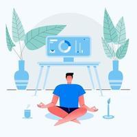 empresário trabalha em casa e se senta com as pernas cruzadas e medita na casa. vestido com roupas de casa. ilustração em vetor plana.