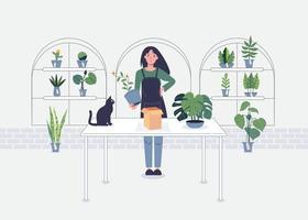 loja de flores ilustração de personagens de desenhos animados de vetor moderno em fundo branco. composição colorida de qualidade com uma jovem florista sorridente ao lado da mesa, loja, venda de plantas, buquês