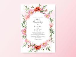 cartões de convite de casamento desenhados à mão floral vetor