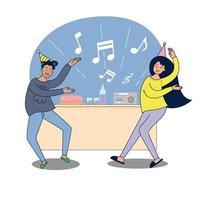 grande casal isolado está comemorando. ilustração vetorial desenhos animados amigos planos ou casal dançando em casa, festa, interior comemorando fundo vetor