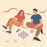 ilustração vetorial desenho de dois menino e uma menina jogando xadrez. sente-se no chão. ilustração vetorial plana. vetor