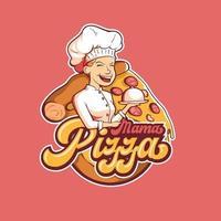 design do logotipo da mascote da pizza vetor
