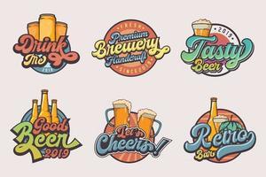 conjunto de logotipo de cerveja vintage vetor
