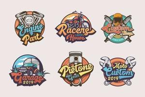 conjunto de etiquetas, emblemas e logotipo vintage de emblemas de garagem vetor