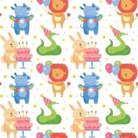 feliz aniversário padrão sem emenda animais fofos celebrando juntos coelho rinoceronte cobra leão decoração do feriado presente bolo balões ilustração vetorial para crianças isoladas vetor