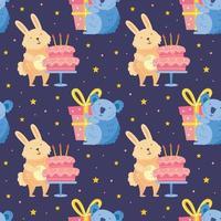 feliz aniversário padrão sem emenda animais fofos celebrando juntos coelho coala urso decoração de férias presente bolo vetor