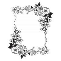 lindo quadro floral com espaço em branco vetor