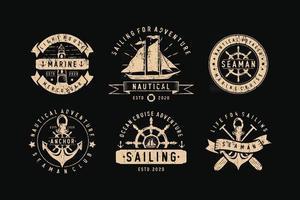 conjunto de etiquetas, emblemas e logotipos de emblemas de vela vetor