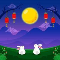coelhos sob a noite de lua cheia vetor