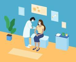 vacinação contra coronavírus. médico injetando paciente mulher na clínica. enfermeira médica máscara segurando a seringa com a vacina. imunização contra o conceito covid-19. ilustração isométrica vetorial vetor