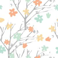 Teste padrão floral vetor desenhado na mão estilo com flores e branc