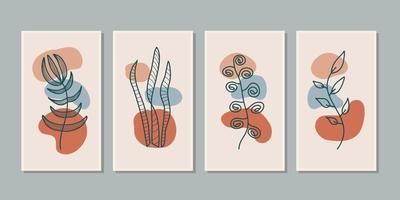 conjunto de arte vetorial de parede botânica. folhagem linha arte desenho com forma abstrata. projeto abstrato da arte da planta para impressão, capa, papel de parede, arte mínima e natural da parede. ilustração vetorial. vetor