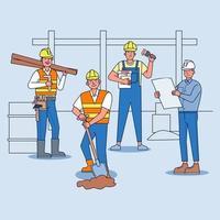 equipe de construtores e empreiteiros trabalhadores industriais juntos no local de trabalho. vetor