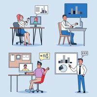 equipe de negócios falando e trabalhando nos computadores e gráfico na sala de reuniões. vetor