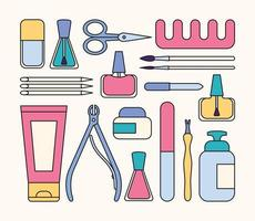 ferramentas e acessórios de manicure. um conjunto de elementos sobre o tema manicure das unhas. ilustração vetorial em estilo minimalista vetor