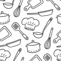 mão desenhada sem costura padrão sobre o tema do chef e cozinheiro. ilustração vetorial em estilo doodle em fundo branco vetor