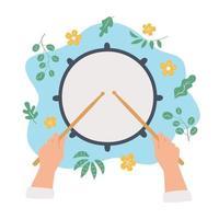 mão desenhada tambor e mãos segurando baquetas. vista do topo. conceito de vetor em estilo plano e cartoon