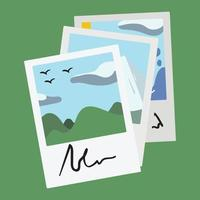 fotos de viagens tiradas da câmera com aspas escritas na parte inferior empilhadas. memórias de férias de colinas, céu e bons tempos. vetor