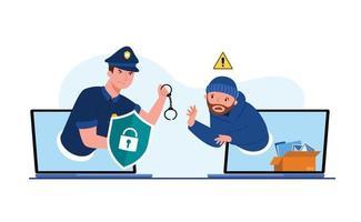 dados digitais abstratos de segurança e proteção do vetor de ataques de ladrões