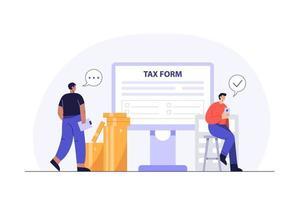 conceito de negócios. pagamento de impostos online. preenchendo formulário de imposto vetor