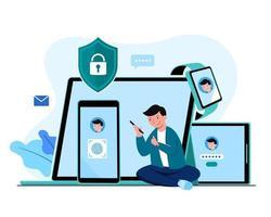 digitalizar impressão digital para dados de proteção de celular e tablet vetor