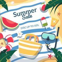 desconto de venda de verão 50%. vista ariel da praia tem um lençol vetor