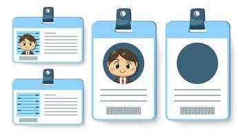 conjunto de carteira de identidade ou carteira de funcionário do personagem de desenho animado do empresário vetor