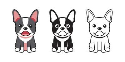 conjunto de desenhos animados de vetor de bulldog francês